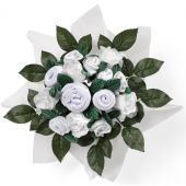 Bouquet de naissance Hand tied bouquet blanc (9 pi�ces) - Babyblooms