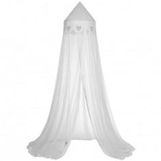 Ciel de lit Coeur patchwork blanc / gris - Taftan