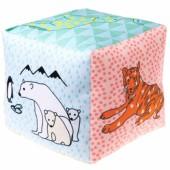 Cube tissu grelot Zoo (12 x 12 cm) - Mimi'lou