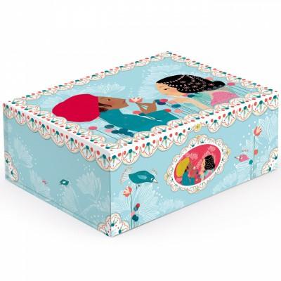 Boîte de rangement romantique salomé bleu ciel (32 x 25 cm)