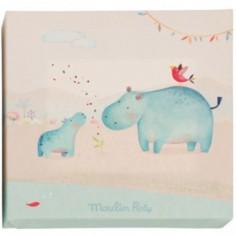 Tableau hippopotame Les Papoum (22 x 22 cm)  - Moulin Roty
