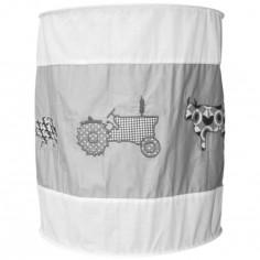 Suspension lampion en tissu Animaux de la ferme gris et blanc - Taftan