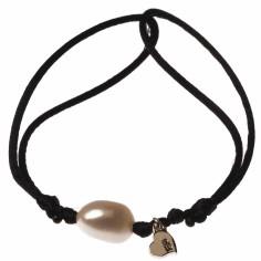 Bracelet cordon perle blanche et motif au choix (or jaune 750�) - Loupidou