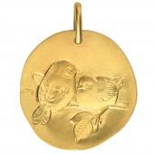 Médaille de mariage ''Les oiseaux'' recto/verso 14 mm (or jaune 750°) - Monnaie de Paris