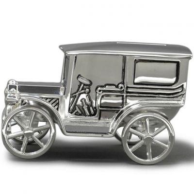 Tirelire Voiture ancienne personnalisable (métal argenté)  par Orfèvrerie de Crévigny