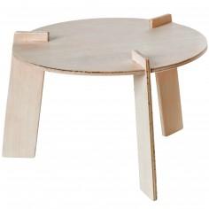 Petite table en bois pour poupée (17 cm de diamètre)
