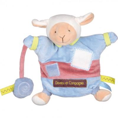 Doudou marionnette zigag agneau (22 cm)