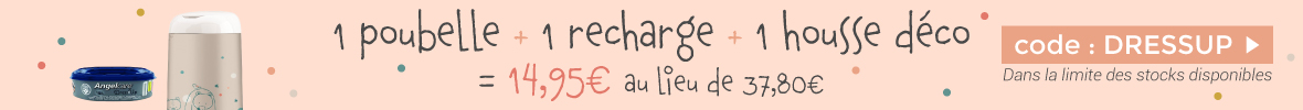 1 poubelle à couches Dress Up + 1 recharge + 1 housse décorative bois = 14.95€  > voir conditions