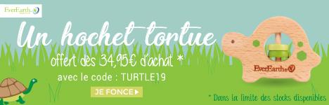 Un hochet tortue en bois offert dès 34,95€ d'achat de la marque Everearth > voir conditions