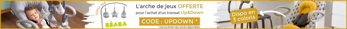 Une arche de jeu offerte pour tout achat d'un transat Up&Down de la marque Béaba > voir conditions