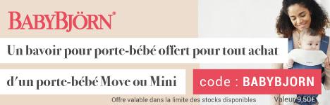 Un bavoir offert pour l'achat d'un porte-bébé Move ou Mini Babybjörn ! > voir conditions