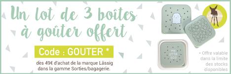 Un lot de 3 boites à goûter Lässig offert dès 49€ d'achat Lässig dans la gamme Sorties/Bagagerie. > voir conditions