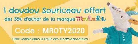 Un doudou Souriceau offert dès 55€ d'achat de la marque Moulin Roty > voir conditions