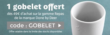 1 gobelet Hippo offert dès 49€ d'achat sur la gamme Repas Done by Deer > voir conditions