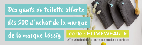 1 lot de 3 gants en mousseline offert dès 30€ d'achat de la collection Home & Wear de Lässig > voir conditions