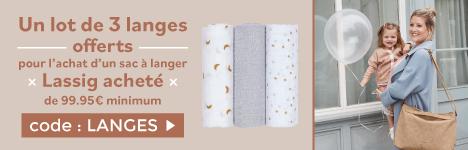1 lot de 3 langes offert dès l'achat d'un sac à langer d'une valeur minimum de 99.95€ de la marque Lassig > voir conditions