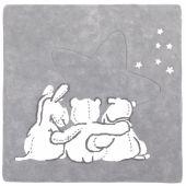 Tapis coton gris et blanc Poudre d'étoiles 3 personnages (120 x 120 cm)  - Noukie's