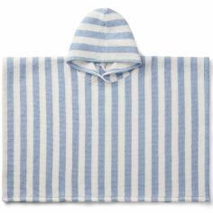 Poncho de bain Paco rayé sky blue creme de la creme (3-4 ans)
