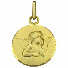 Médaille ronde Ange 16 mm bord festonné (or jaune 750°)