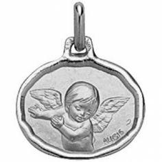 Médaille ovale Ange 16 mm bord diamanté (or blanc 750°)
