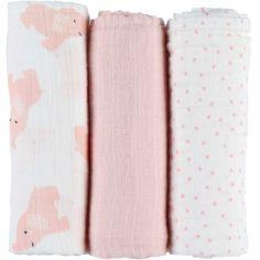 Lot de 3 langes en mousseline de coton Eléphant rose (70 x 70 cm)