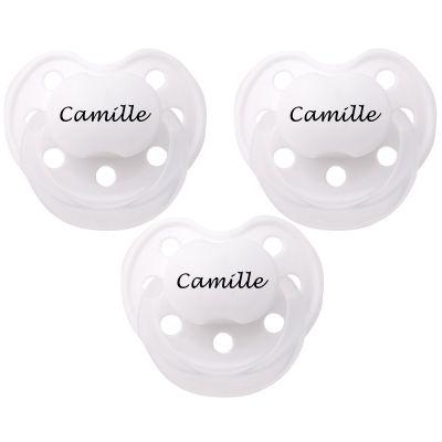 Lot de 3 sucettes personnalisables anatomiques Deluxe blanc en silicone (0-3 mois)  par Baby Tute