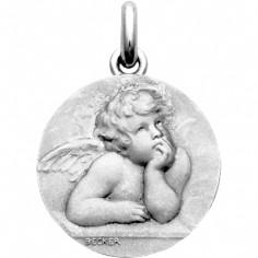 Médaille Ange Raphaël (mat)  (Or blanc 750°)