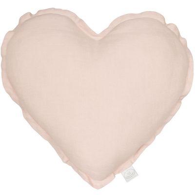 Coussin coeur rose poudré (40 cm)  par Cotton&Sweets