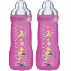 Lot de 2 biberons Easy Active 2ème âge fille (330 ml)