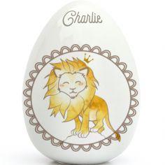 Oeuf en porcelaine Lion (personnalisable)