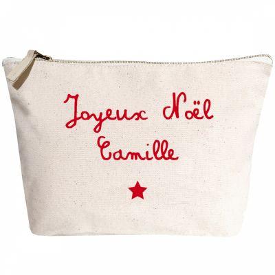 Trousse Joyeux Noël prénom rouge (personnalisable)