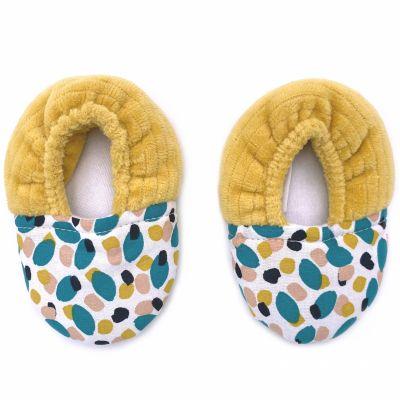 Chaussons de naissance bi-matière ocre Baby Pop (0-6 mois)  par BB & Co