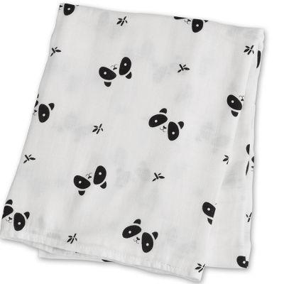 Maxi lange bambou panda noir et blanc (120 x 120 cm)  par Lulujo