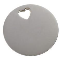 Bracelet empreinte pastille trou coeur sur cordon (argent 925°)