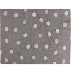Tapis lavable gris à pois de 3 couleurs (120 x 160 cm)