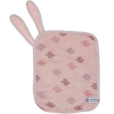 Doudou attache sucette en coton Xandu Sensitive rose