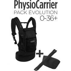 Pack Evolution porte-bébé PhysioCarrier en coton noir + booster réhausseur et cale-tête