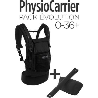 Pack Evolution porte-bébé PhysioCarrier en coton noir + booster réhausseur et cale-tête Je Porte Mon Bébé / Love Radius