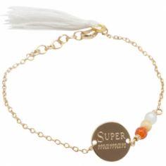 Bracelet cordon Super Maman (plaqué or)