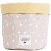 Panier de toilette en tissu Mambo sable Etoile blanche (15 x 19 cm) - Nobodinoz