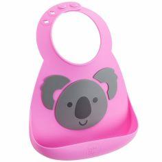 Bavoir silicone à poche Koala rose et gris