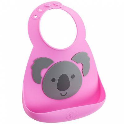Bavoir silicone à poche Koala rose et gris  par Make My Day