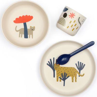 Coffret repas en silicone léopard (4 pièces)