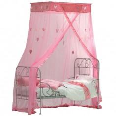 Ciel de lit Coeurs suspendus rose