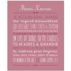Tableau Merci Nounou personnalisable rose blush (33 x 41 cm)