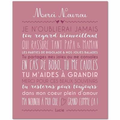Tableau Merci Nounou personnalisable rose blush (33 x 41 cm)  par Mes Mots Déco