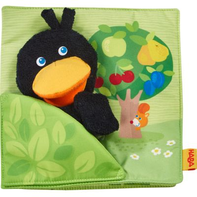Livre bébé d'activités + marionnette doigt Le verger Haba
