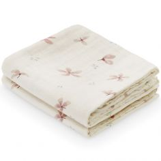 Lot de 2 langes en coton bio Windflower Creme (70 x 70 cm)