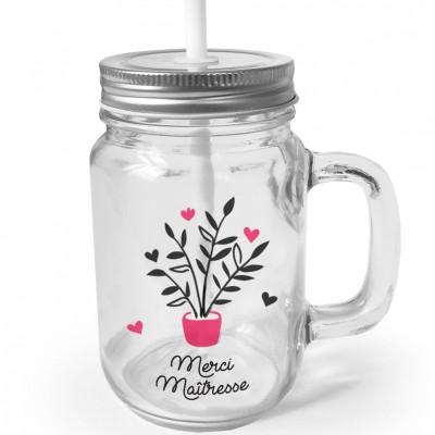 Mug en verre à emporter avec paille Merci Maîtresse  par Les Griottes