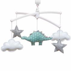 Mobile musical dinosaure gris et vert (mélodie au choix)